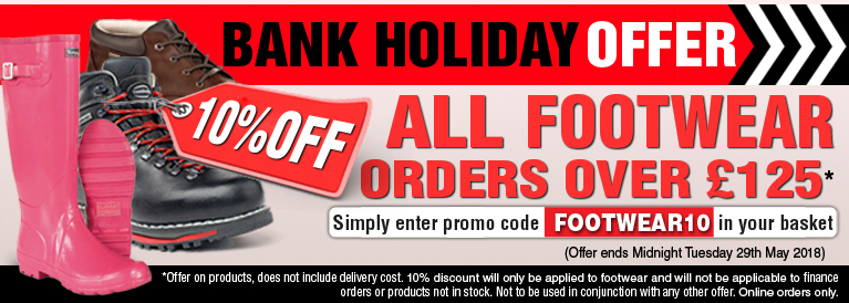 Bank Holiday Offer 10 Percent Off all Footwear