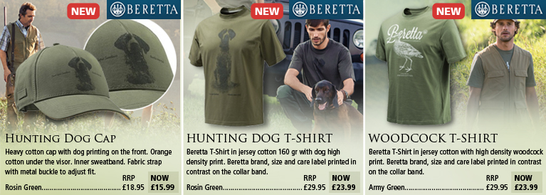 Beretta Hunting Dog Cap and T-Shirt and Woodcock T-Shirt