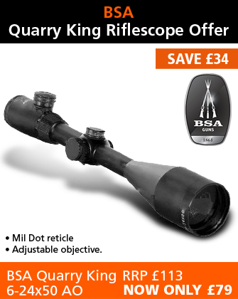 BSA Quarry King 6-24x50 AO Rifle Scope (25mm) - Mil Dot