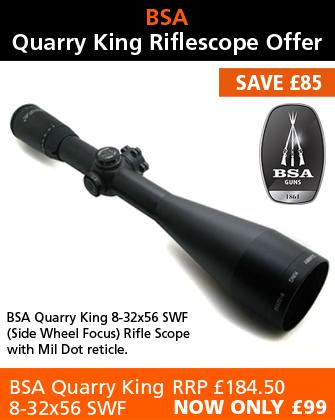 BSA Quarry King 8-32x56 SWF Rifle Scope (30mm) - Mil Dot