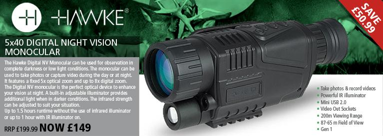 Hawke 5x40 Digital Night Vision Monocular - Black