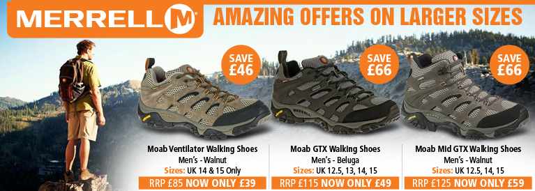 Merrell Amazing Offer on Larger Sizes - Moab GTX, Moab Mid GTX and Moab Vent
