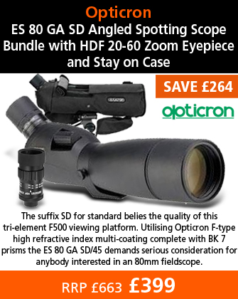 Opticron ES 80 GA SD Angled Spotting Scope Bundle with HDF 20-60 Zoom Eyepiece and Stay on Case