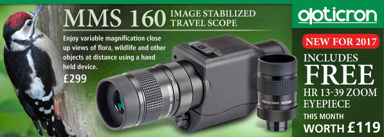 Opticron MMS 160 Image Stabilized Travelscope with FREE Eyepiece