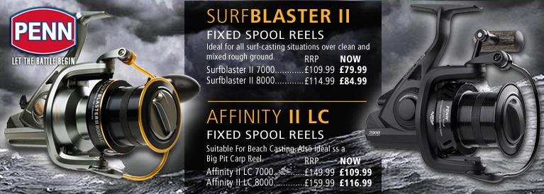 Penn Surfblaster II and Affinity II LC Surfcasting Reels