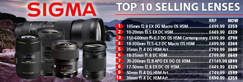 Sigma Top Ten Best Selling Lenses