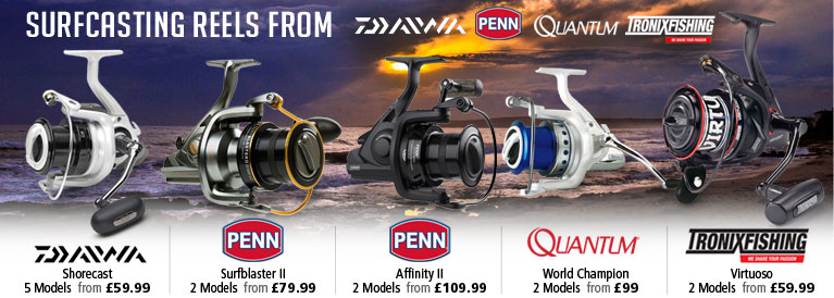 Surfcasting Reels from Daiwa, Penn, Quantum and Tronix