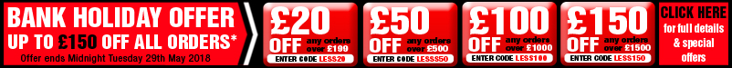 Bank Holiday Offer Up to £150 Off