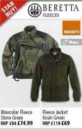 Beretta Binocular Fleece - Stone Green and Fleece Jacket - Rosin Gren