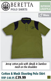 Beretta Cotton & Mesh Shooting Polo Shirt - Green & Grey