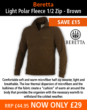 Beretta Light Polar Fleece 1/2 Zip - Brown
