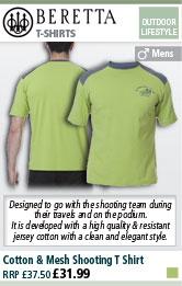 Beretta Cotton & Mesh Shooting T Shirt - Green / Grey