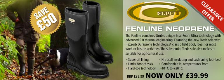 Grubs Fenline Neoprene Wellington Boots (Unisex) - Black