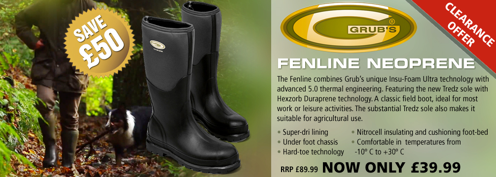 Grubs Fenline Neoprene Wellington Boots (Unisex) - Black