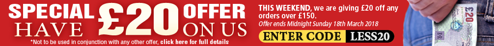 Have £20 on us with every order over £150