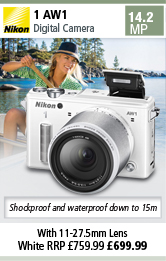 Nikon 1 AW1 Camera with 11-27.5mm Lens - White