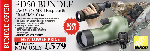 Nikon Fieldscope ED50 Angled Spotting Scope, 13-40x MKII Eyepiece & Hand Hold Case - Green