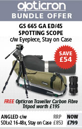 Opticron Spotting Scope GS 665 GA ED/45 Angled, SDLv2 18-54x, Stay on Case & Free Traveller Carbon Tripod