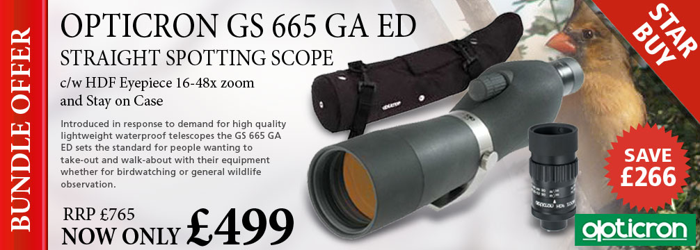 Opticron GS 665 GA ED Straight Scope, HDF Eyepiece 16-48x and Stay-On Case