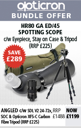 Opticron Spotting Scope HR80 GA ED/45 Angled, SDL V2 24-72x, Stay on Case & Traveller Carbon Pro Tripod