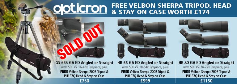 Opticron Spottng Scopes FREE Velbon Sherpa Tripod, Head & Stay on Case