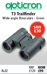 Opticron T3 Trailfinder WP 8x32 Binoculars - Green