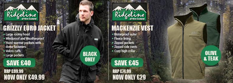 Ridgeline Grizzly Euro Jacket Black & Mackenzie Vest