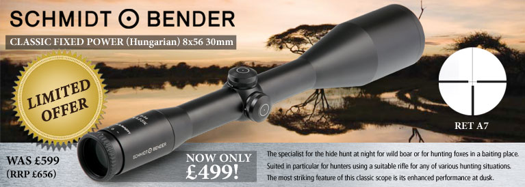 Schmidt and Bender Classic Fixed Power (Hungarian) 8x56 30mm Rifle Scope - Reticle A7