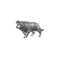 A R Brown Border Collie Pewter Pin Badge