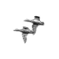 A R Brown Pair of Ducks (Flying) Pewter Pin Badge