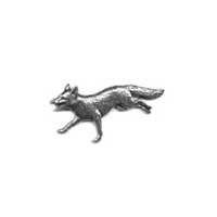 A R Brown Running Fox Head Pewter Pin Badge