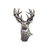 A R Brown White Tailed Deer Pewter Pin Badge