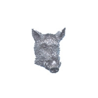 A R Brown Wild Boar Head Pewter Pin Badge