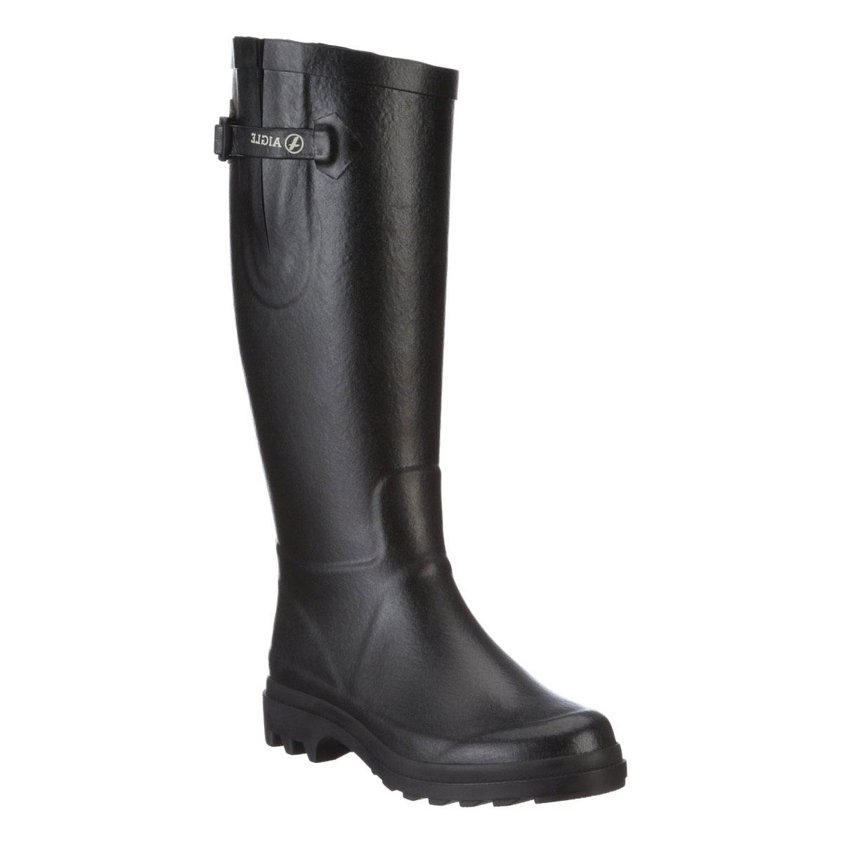 Image of Aigle Aiglentine Wellington Boots (Women's) - Noir (Black)