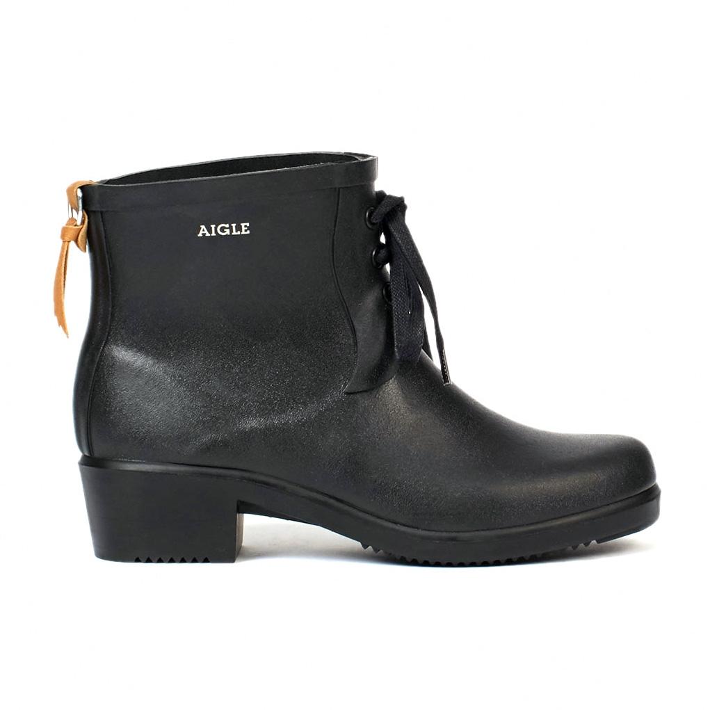 aigle miss juliette bottillon lace ankle boots (women's) - noir