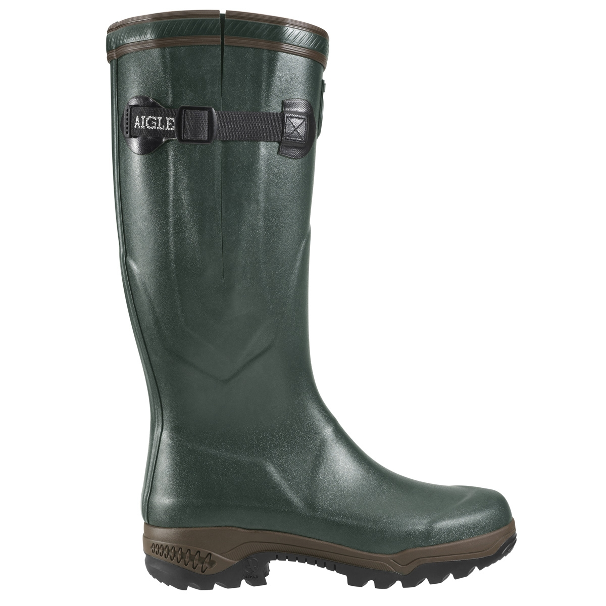 Image of Aigle Parcours 2 ISO Wellington Boots Unisex  Bronze Dark Green