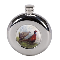 Bisley 4.5oz Round Hip Flask - Pheasant Design with Presentation Box and Funnel