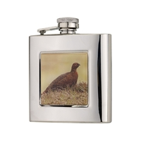 Bisley 6oz Square Grouse Hip Flask in Presentation Box