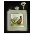 Bisley 6oz Square Hip Flask - Pheasant Design with Presentation Box and Funnel