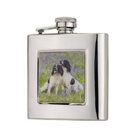 Bisley 6oz Square Spaniels Hip Flask in Presentation Box