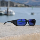Image of Cocoons Wide Line Polarized Sunglasses - Black Frame / Blue Mirror Lens