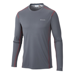 Image of Columbia Midweight II Long Sleeve Top - Mens - Graphite / Bright Red Stitch