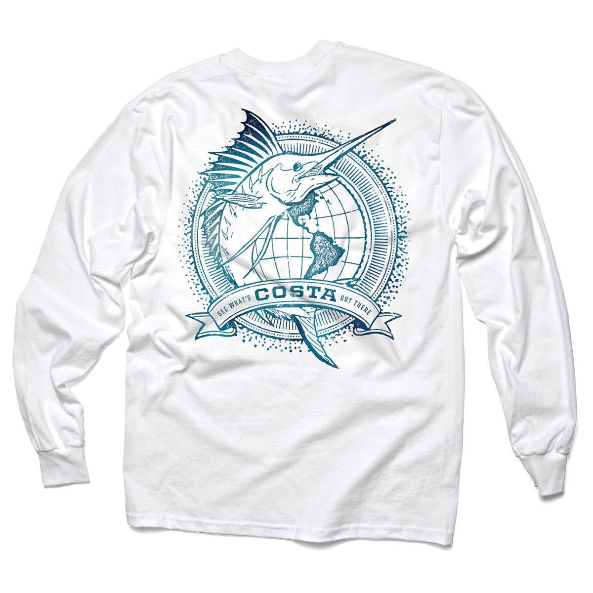 Image of Costa Del Mar World Sailfish Long Sleeve T-Shirt - White