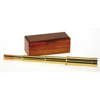 Helios Fine Brass Admiral 10-30x30 Zoom Draw Telescope with Mahogany Box