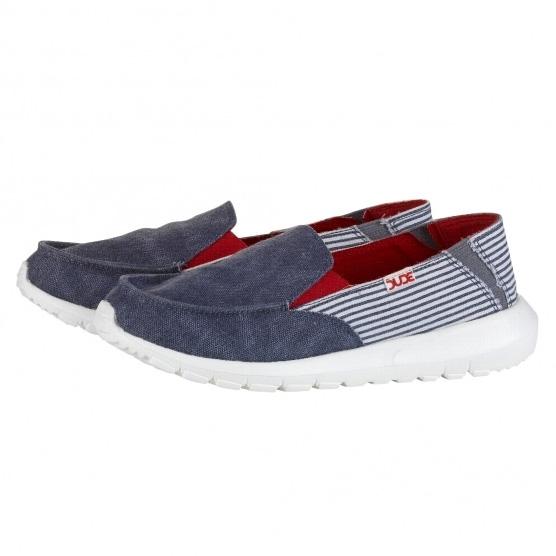 Hey Dude Ava Navy Red Stripe Womens Canvas Slipons Shoes-3 uwuG84f
