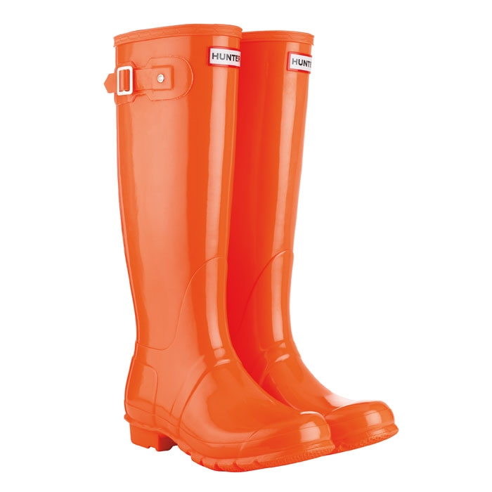 Image of Hunter Festival Fluoro Wellington Boots - Neon Orange
