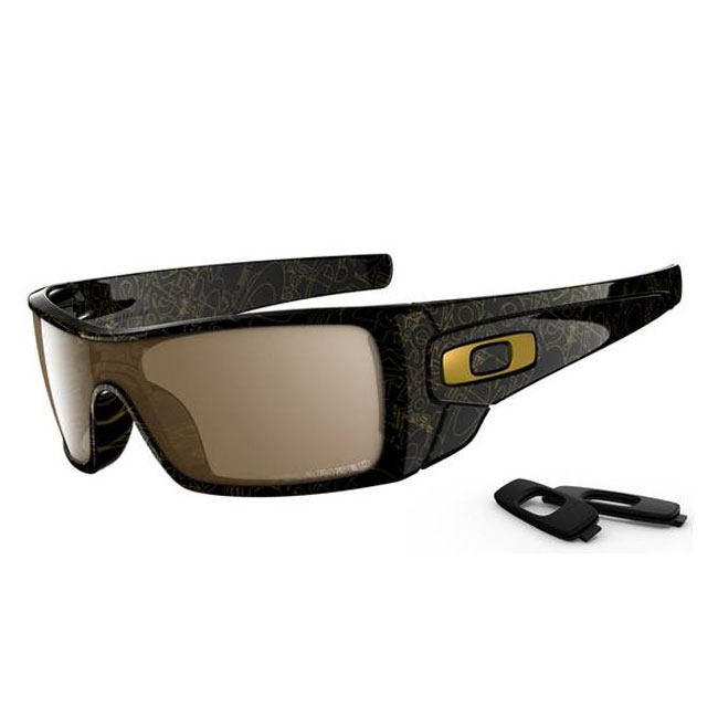 oakley sunglasses black and gold  Oakley Batwolf Men\u0027s Polarized Sunglasses - Black Gold Ghost Text ...