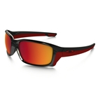 Image of Oakley Straightlink Polarized Men's Sunglasses - Polished Black Frame/Torch Iridium Polarized Lens