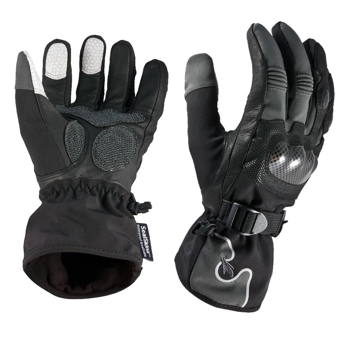 Motorcycle gloves large - Image Of Sealskinz Motorcycle Gloves Black Grey