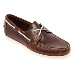 Image of Sebago Docksides Shoe (Men's) - Brown Oiled Waxy Leather / White Outsole